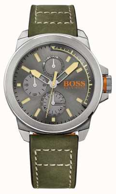 Hugo Boss Orange Mens Green Leather Strap Grey Dial 1513318