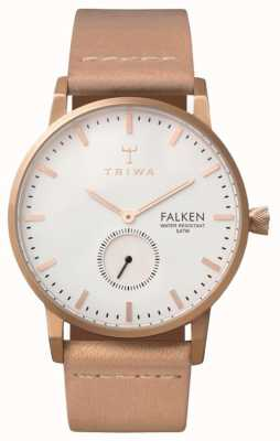 Triwa Unisex White Dial Leather Strap Rose Falken FAST101-CL010614
