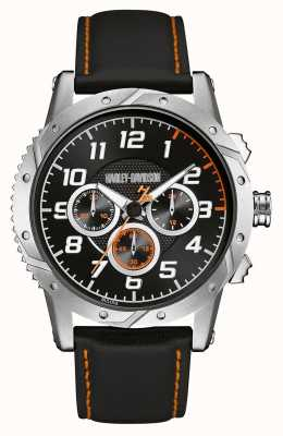 Harley Davidson Mens Leather Strap Black Chronograph Dial 76B171