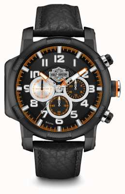 Harley Davidson Mens Black Leather Strap Chronograph 78B139
