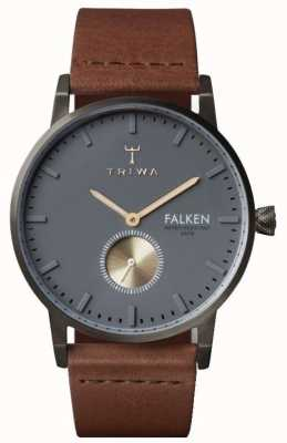 Triwa Mens Falken Brown Leather Grey Dial FAST102-CL010213