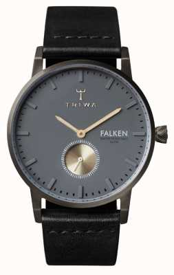 Triwa Mens Falken Black Leather Strap Grey Dial FAST102-CL010113