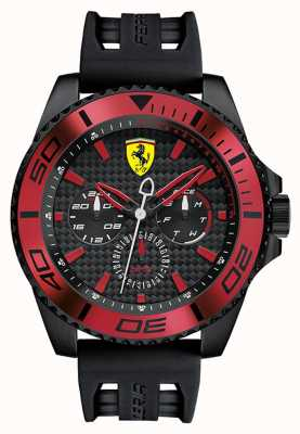 Scuderia Ferrari Mens Black Rubber Strap Black Dial Red Detail 0830310
