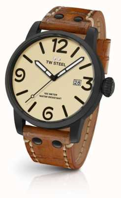 TW Steel Mens Brown Leather Strap Cream Dial MS41