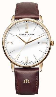 Maurice Lacroix Mens White Round Dial Brown Leather Strap EL1118-PVP01-112-1