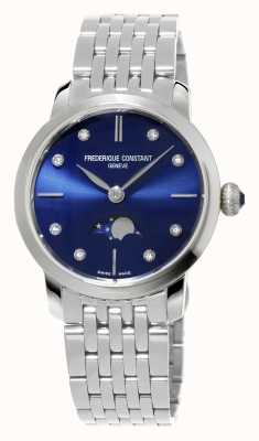 Frederique Constant Slimline Moonphase Womens Navy Diamond Set Stainless Steel FC-206ND1S26B