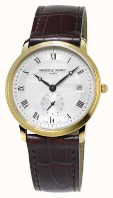 Frederique Constant Slimline Mens Ultra Slim Gold Plated Leather Strap FC-245M4S5