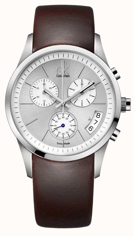 b577c67b7 Calvin Klein Bold Mens Chronograph Brown Leather Strap Watch ...