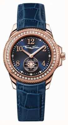 Thomas Sabo Womans Blue Leather Strap Blue Dial WA0216-270-209-33
