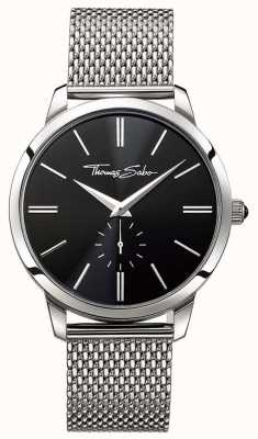 Thomas Sabo Mens Black Dial Stainless Steel Strap WA0152-201-203-42