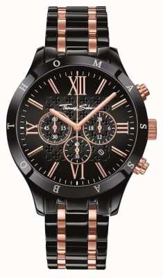 Thomas Sabo Mens Black Rose Gold Stainless Steel WA0196-268-203-43