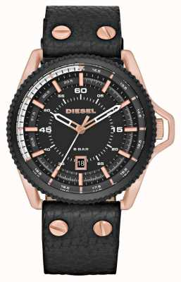 Diesel Mens Black Leather Strap Round Black Dial DZ1754
