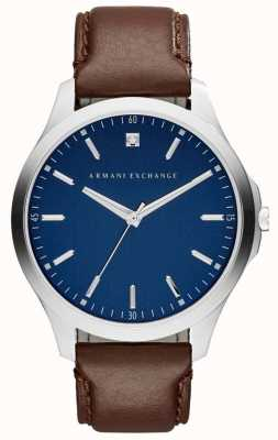 Armani Exchange Mens Brown Leather Strap Blue Dial AX2181