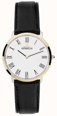 Michel Herbelin Mens Ikone Black Leather Strap White Dial 17415/T01