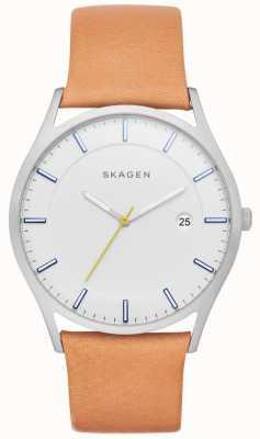 Skagen Mens Holst Tan Leather Strap White Dial SKW6282