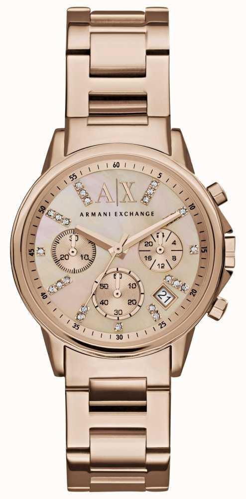f0de525f5c8 Armani Exchange Womans Rose Gold Chronograph Dial Rose Gold Metal ...