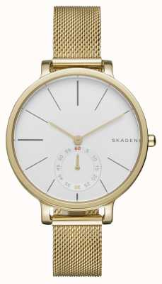 Skagen Womans White Dial Gold Steel Mesh Strap SKW2436