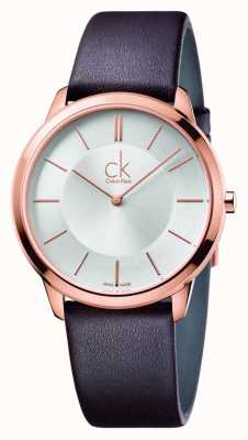Calvin Klein Mens Minimal Brown Leather Strap K3M216G6