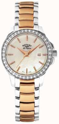 Rotary Womans Two Tone Strap White Pearl Dial LB90119/41