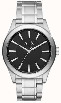 Armani Exchange Mens Stainless Steel Silver Metal Strap Black Dial AX2320