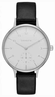 Skagen Womans Black Leather Strap Round White Dial SKW2415