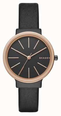 Skagen Womans Slim Black Leather Strap Black Dial SKW2480