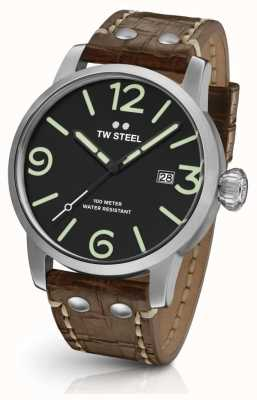 TW Steel Mens Maverick Brown Leather Strap Black Dial MS11