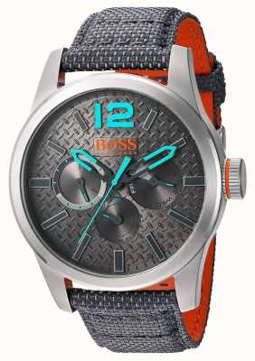 Hugo Boss Orange Mens Paris Grey Fabric Strap Grey Dial 1513379