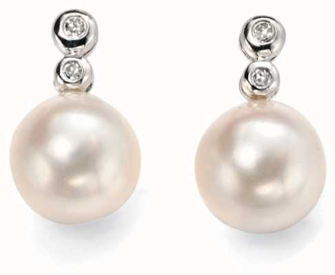 Elements Gold 9ct White Gold Diamond And  Pearl Drop Earrings GE896W