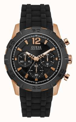 Guess Mens Caliber Sport Black Chronograph Dial Rose Gold Case W0864G2