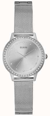 Guess Womans Chelsea Silver Mesh Strap Round Silver Dial Stone Set W0647L6