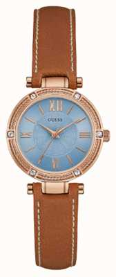 Guess Womans Park Ave South Brown Leather Strap Rose Gold W0838L2