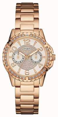 Guess Womans Sassy Rose Gold Metal Strap Gold Dial Stone Set W0705L3