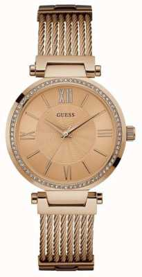 Guess Womans Soho Rose Gold Strap Round Rose Gold Dial Stone Set W0638L4