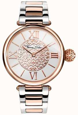 Thomas Sabo Womans Karma Two Tone Strap Silver Dial Stainless Steel WA0257-277-201-38