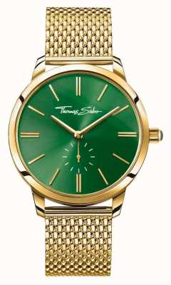 Thomas Sabo Womans Glam Spirit Steel Gold Mesh Strap Green Dial WA0275-264-211-33