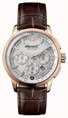 Ingersoll Mens 1892 The Regent Brown Leather Strap Silver Dial I00101