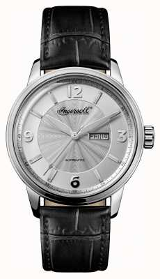 Ingersoll Mens 1892 The Regent Black Leather Strap Silver Dial I00202