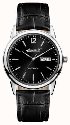 Ingersoll Mens 1892 The New Haven Black Leather Strap Black Dial I00502