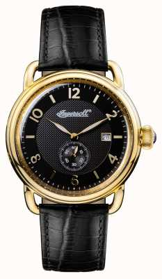 Ingersoll Mens 1892 The New England Black Leather Strap Black Dial I00802