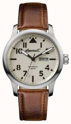 Ingersoll Mens Discovery The Hatton Brown Leather Strap White Dial I01301
