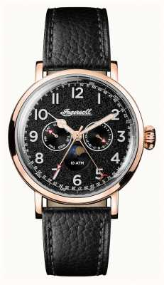 Ingersoll Mens Discovery The St Johns Black Leather Strap Black Dial I01602