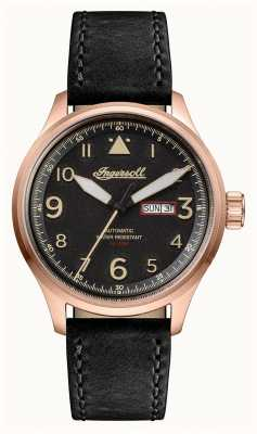 Ingersoll Mens Discovery The Bateman Black Leather Strap Black Dial I01803