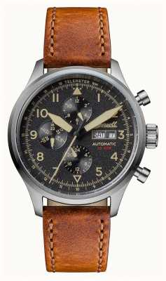 Ingersoll Mens Discovery The Bateman Brown Leather Strap Black Dial I01902
