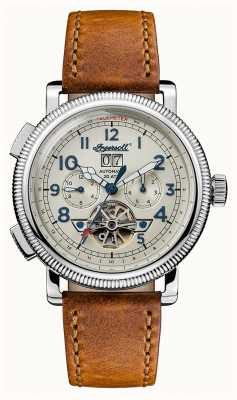 Ingersoll Mens Discovery The Bloch Brown Leather Strap Beige Dial I02601