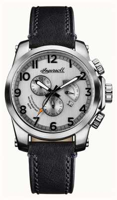 Ingersoll Mens Discovery The Manning Grey Leather Strap Silver Dial I03002
