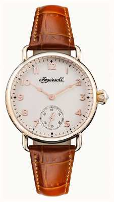 Ingersoll Womens Chronicle The Trenton Brown Leather Strap White Dial I03604