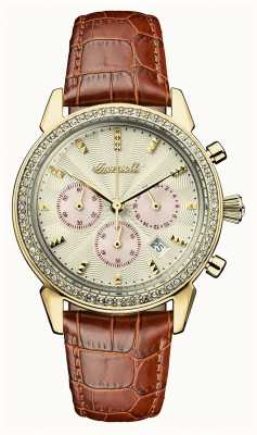 Ingersoll Womens Chronicle The Gem Brown Leather Strap Gold Dial I03902