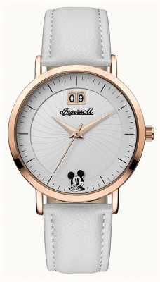 Ingersoll Womens Union The Disney White Leather Strap Silver Dial ID00502