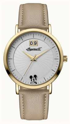 Disney By Ingersoll Womens Union The Disney Beige Leather Strap Silver Dial ID00503